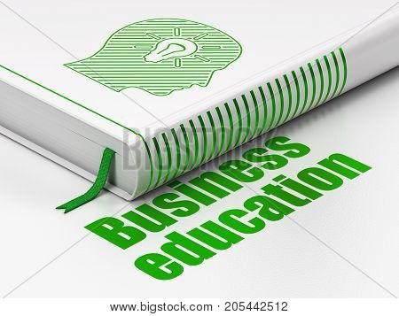 Studying concept: closed book with Green Head With Light Bulb icon and text Business Education on floor, white background, 3D rendering