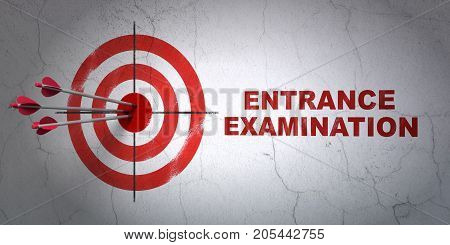 Success Learning concept: arrows hitting the center of target, Red Entrance Examination on wall background, 3D rendering