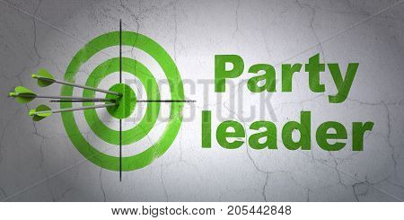 Success politics concept: arrows hitting the center of target, Green Party Leader on wall background, 3D rendering