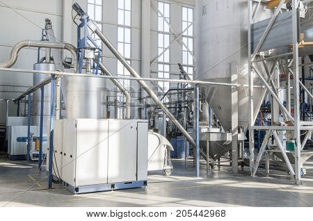 Factory For The Production Of Pet Plastic Granules. Plant Of Pet Granules