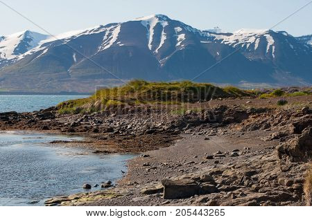 Coast Of Island Of Hrisey In Iceland