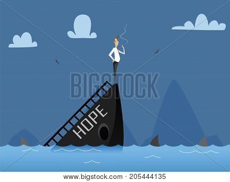 Business concept illustration of businessman fall down, business failure, crisis concept. Sinking boat with businessman smoking last cigarette. Flat vector design