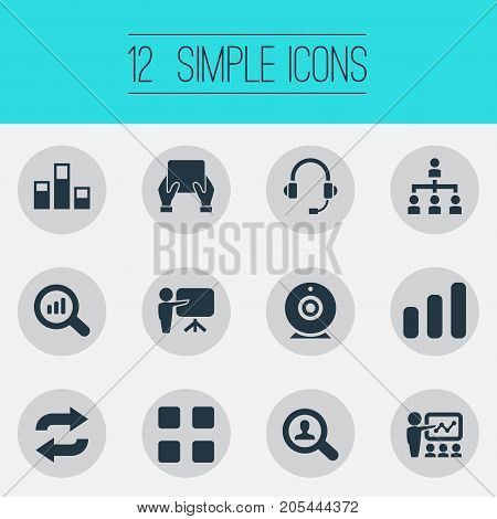 Elements Repeat, Tablet, Search And Other Synonyms Training, Reload And Communication.  Vector Illustration Set Of Simple Training Icons.