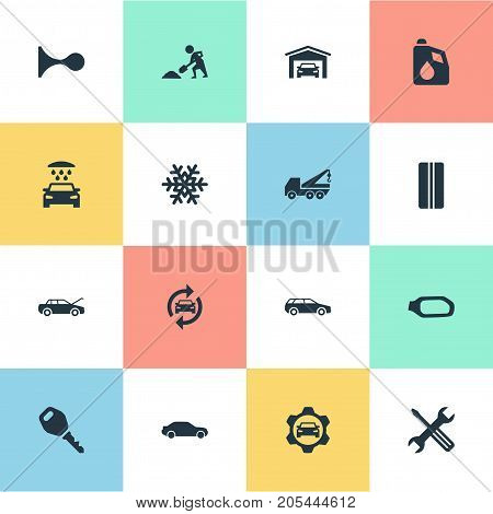 Elements Snowflake, Motorcar, Vehicle Building And Other Synonyms Hatchback, Winter And Motorcar.  Vector Illustration Set Of Simple Vehicle Icons.