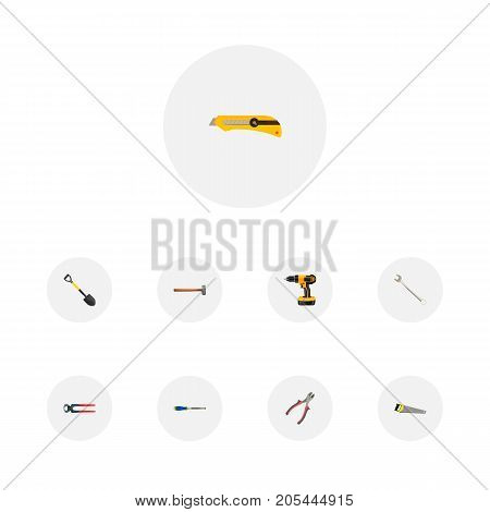 Realistic Chisel, Hacksaw, Stationery Knife And Other Vector Elements