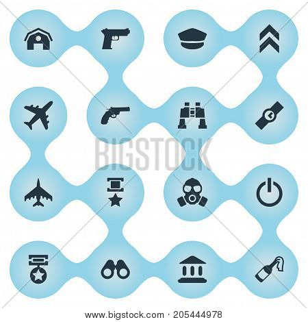 Elements Pursuit Plane, Revolver, Aircraft And Other Synonyms Fire, Tribunal And Plane.  Vector Illustration Set Of Simple Battle Icons.