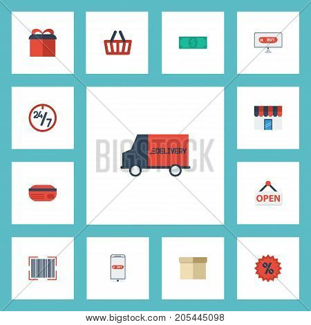 Flat Icons Qr, Shop, Shopping And Other Vector Elements