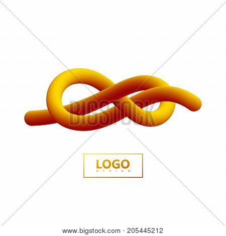 Abstract 3d knotted gradient shape. Vector artistic illustration. Orange liquid color path. Creativity concept. Visual communication poster design. Figure eight tied knot. Logo design