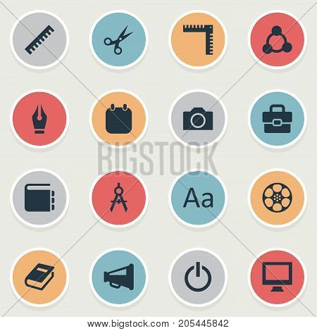 Elements List, Bullhorn, Power And Other Synonyms Device, Film And Pen.  Vector Illustration Set Of Simple Icon Icons.