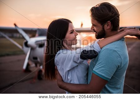 Couple And Aircraft