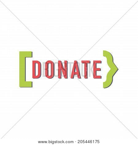 Donate button with arrow. Help sign green arrow. Gift charity. Isolated support design. Contribute, contribution, give money, giving symbol. Vector illustration