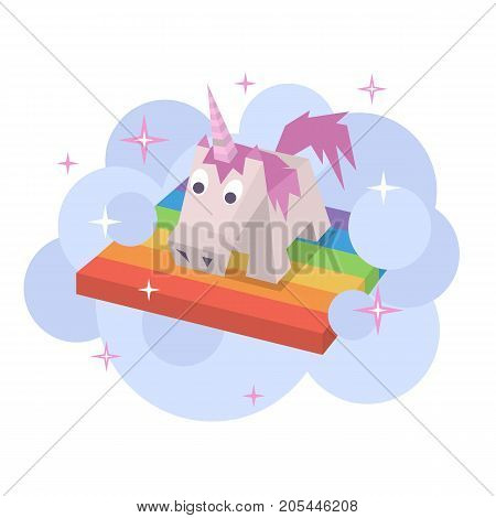 Vector unicorn flat image. Isometric element for children design. Cute turquoise isometry funny unicorn. Fairy magic isolated vector object, cartoon design illustration. Beautiful horse with horn