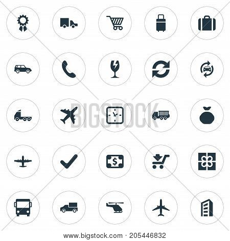 Elements Gift, Cargo Truck, Watch And Other Synonyms Luggage, Greenback And Award.  Vector Illustration Set Of Simple Conveyance Icons.