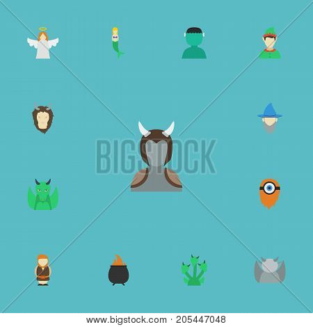 Flat Icons Dinosaur, Character, Lion And Other Vector Elements