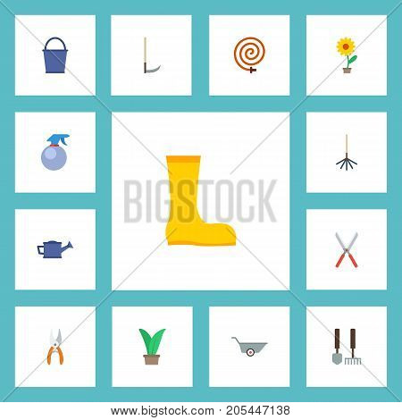 Flat Icons Plant, Wheelbarrow, Flowerpot And Other Vector Elements