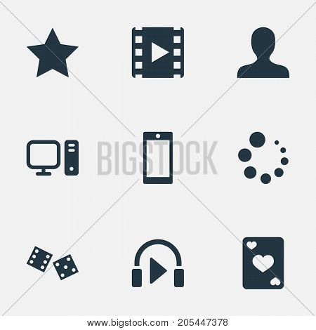 Elements Asterisk, Phone, Sound And Other Synonyms Avatar, Gambling And Personal.  Vector Illustration Set Of Simple Leisure Icons.