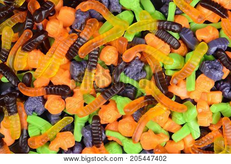 halloween gummy worms witches brooms cats candy