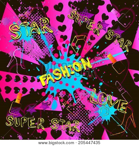 Abstract seamless fashion pattern for girls, boys, clothes. Creative fashion vector background with dots, pomade, shoes, star.Funny wallpaper for textile and fabric. Fashion style. Colorful bright.Green, blue, yellow