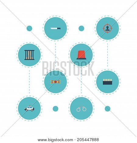 Flat Icons Suspicious, Bayonet, Jail And Other Vector Elements