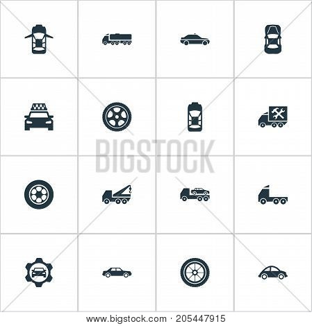 Elements Panorama, Transit, Camion And Other Synonyms Truck, Overhaul And Side.  Vector Illustration Set Of Simple Car Icons.