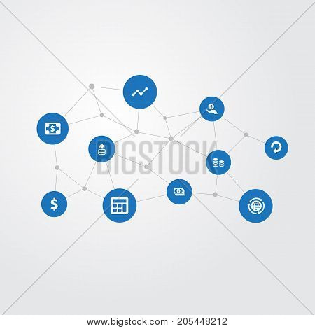 Elements Banknote, Bucks, Analytics And Other Synonyms Transfer, Worldwide And Business.  Vector Illustration Set Of Simple Bill Icons.