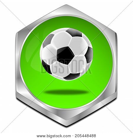 glossy green Button with Soccer ball - 3D illustration