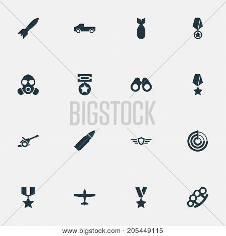 Elements Vision, Award, Rocket And Other Synonyms Automobile, Glass And Mask.  Vector Illustration Set Of Simple Combat Icons.