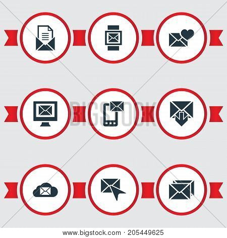 Elements Cloud, Mail With Heart, Ingoing And Other Synonyms Valentine, Parcel And Inbox.  Vector Illustration Set Of Simple Message Icons.