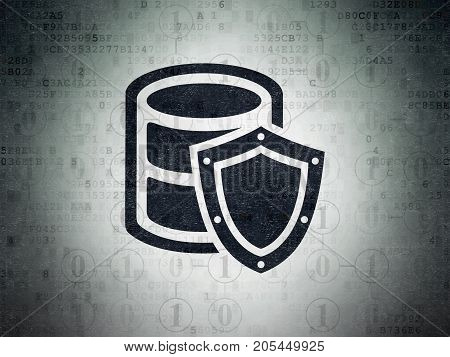 Software concept: Painted black Database With Shield icon on Digital Data Paper background with Scheme Of Binary Code