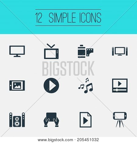 Elements Cellphone, Document, Touchscreen And Other Synonyms Display, Start And Image.  Vector Illustration Set Of Simple Multi Icons.
