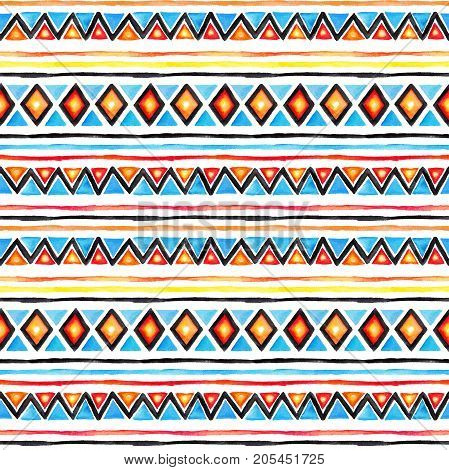 Tribal design. Seamless background with native tribal pattern. Watercolor