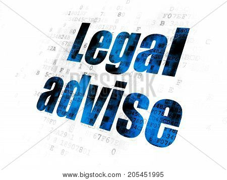 Law concept: Pixelated blue text Legal Advise on Digital background