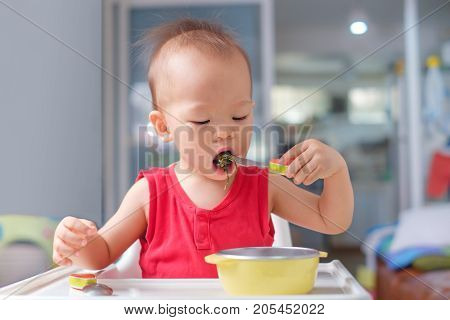 Portrait of Cute little Asian 20 months / 1 year old toddler baby boy child eating healthy food from fork & spoon Children feeding himself Self Feeding With Spoon Encouraging Independence concept