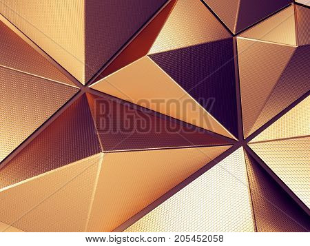 Violet Polygonal Metal Shape with Lovely Reflections 3D Illustration