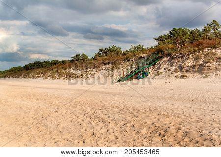 Baltic Sea Coast. Cold autumn morning on the beach. Soil erosion. Seashore