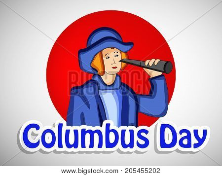 illustration of a man with Columbus Day text on the occasion of Columbus Day
