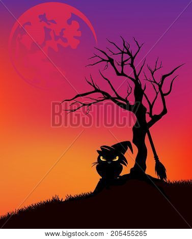 halloween vector background with black cat wearing witch hat dead tree and huge moon in sunset sky