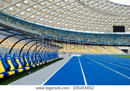 KYIV UKRAINE - October 04: The empty tribunes of Olympic stadium (NSC Olimpiysky) after UEFA EURO 2012 at October 04 2012