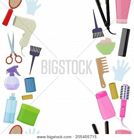 Seamless vertical borders of colorful equipments for styling and hair care. Products and tools for home remedies of hair care. Vector