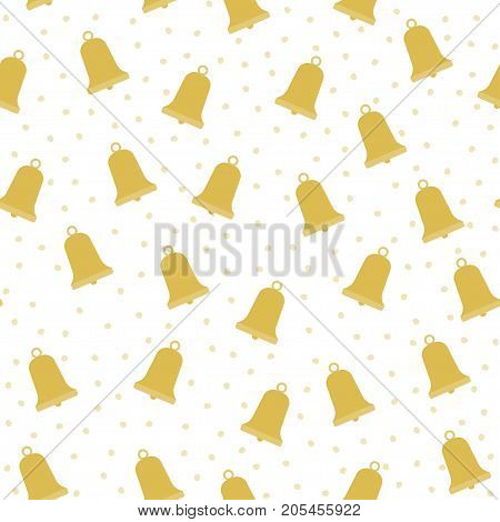 Seamless pattern with gold Christmas bells. vector illustration