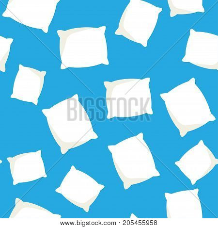 Seamless pattern with white pillow cushion vector illustration on a blue background