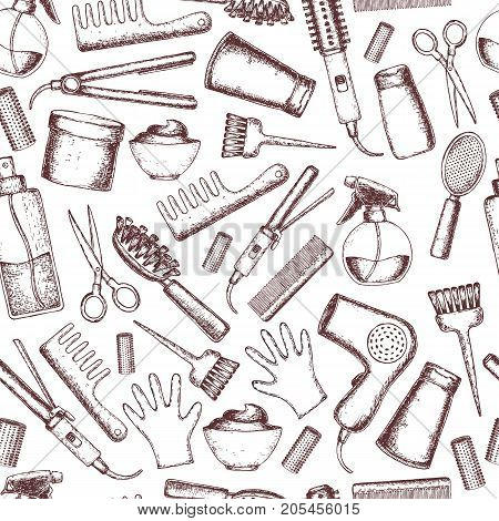 Seamless background of sketch equipments for styling and hair care. Products and tools for home remedies of hair care. Vector