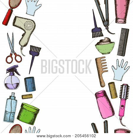 Seamless vertical borders of colorful sketch equipments for styling and hair care. Products and tools for home remedies of hair care. Vector