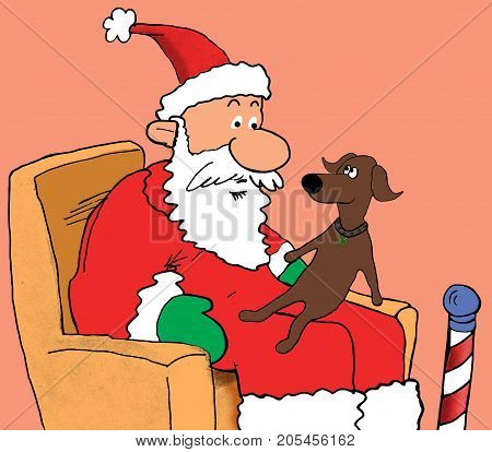 Christmas cartoon illustration of a dog sitting on Santa Claus's lap.