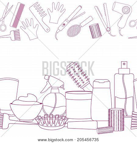 Seamless horizontal borders of line equipments for styling and hair care. Products and tools for home remedies of hair care. Vector
