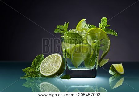 Cocktail With Lime, Ice And Peppermint .
