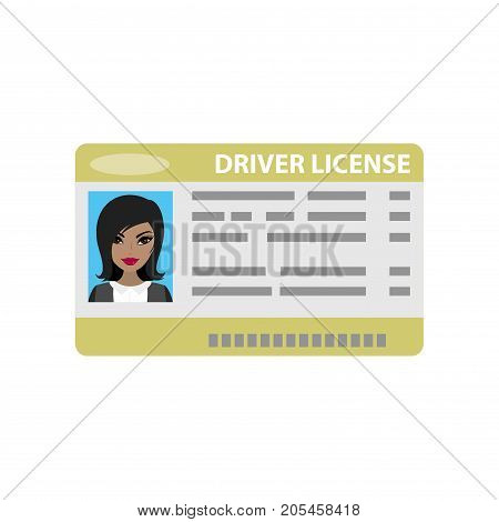 Driver license with female photo, isolated on white background, cartoon vector illustration.