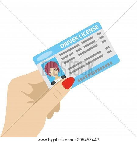 Hand holding driver license with female photo, isolated on white background, cartoon vector illustration