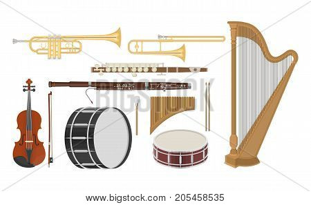 An illustration of musical instruments set on a white background