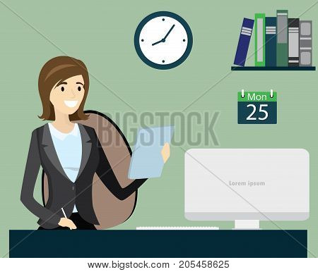 Office worker or business woman working.Cartoon stock vector illustration